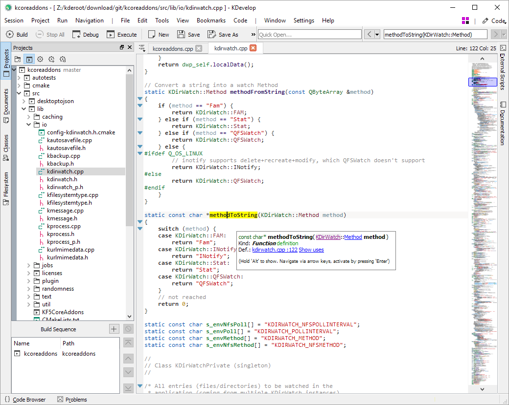 Screenshot of KDevelop 5 under Windows with the native Windows 10 style