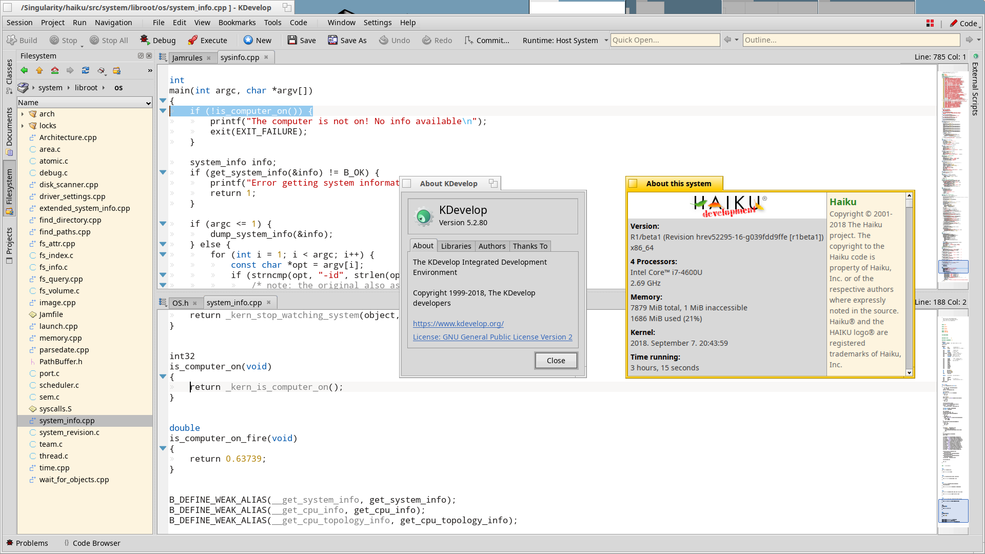 KDevelop 5.3 Beta on Haiku