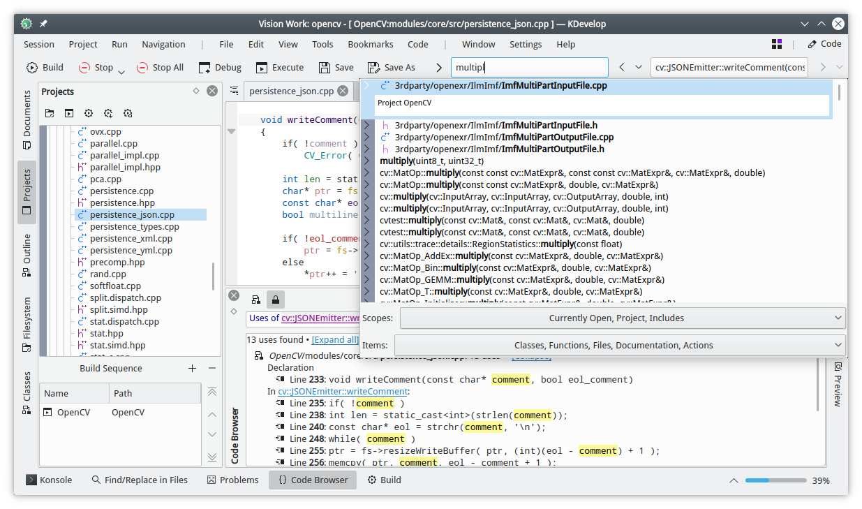 KDevelop 5.5.0 in action