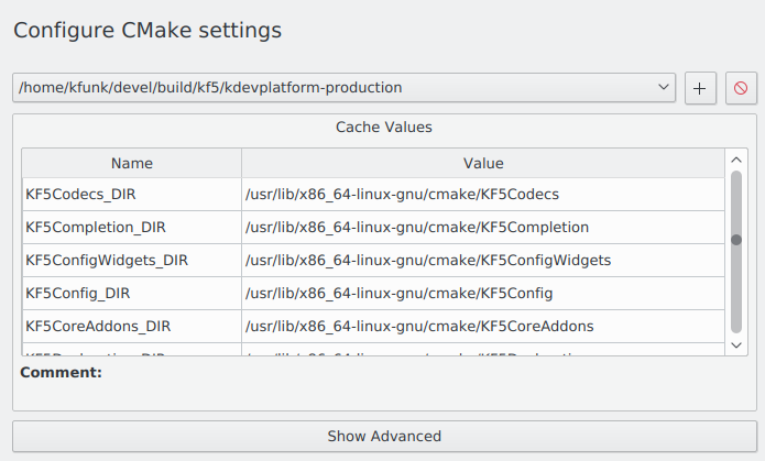 KDevelop's CMake settings dialog