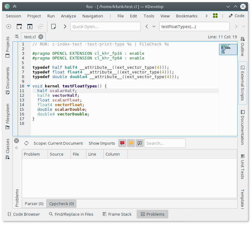 KDevelop with OpenCL language support