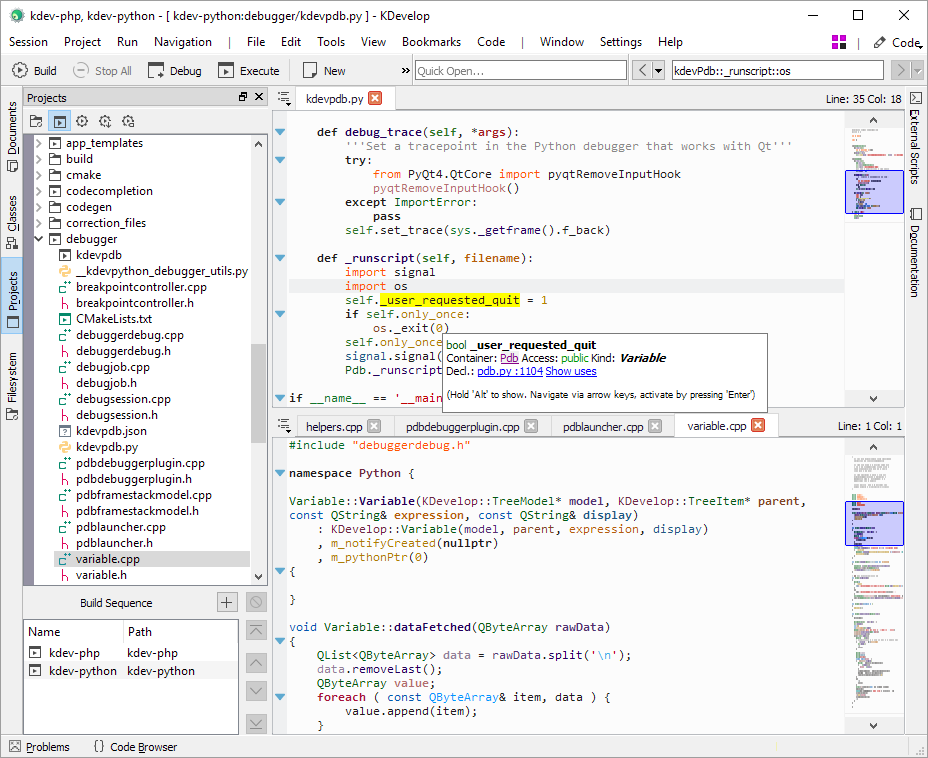 KDevelop with two editors open in a split view