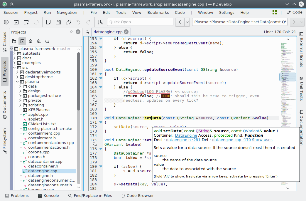 Screenshot of KDevelop 5 under Linux with the Breeze style
