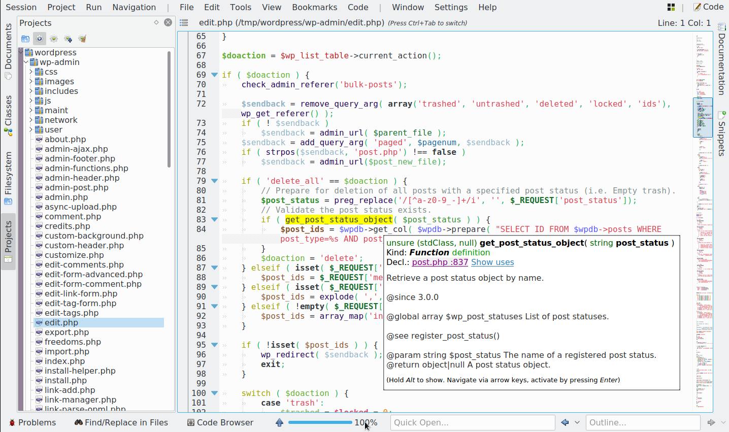 PHP support in KDevelop 5.2